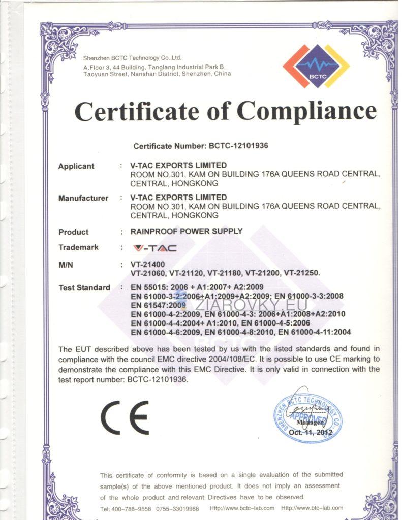 3 791x1024 CE a RoHS Certifikáty