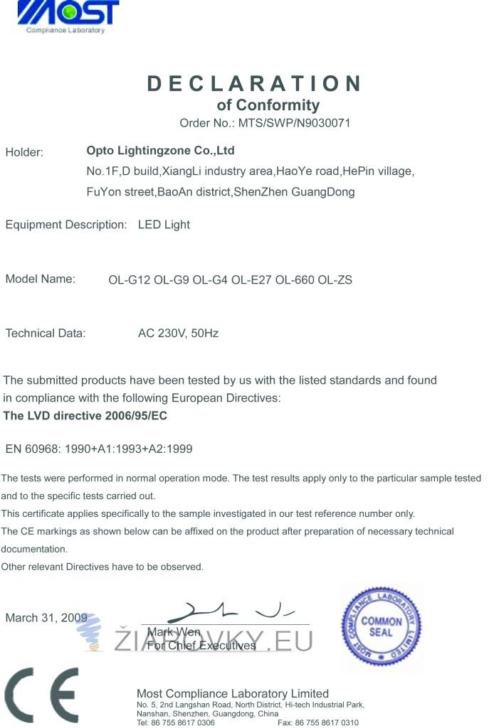 g9 ce 687x1024 CE a RoHS Certifikáty