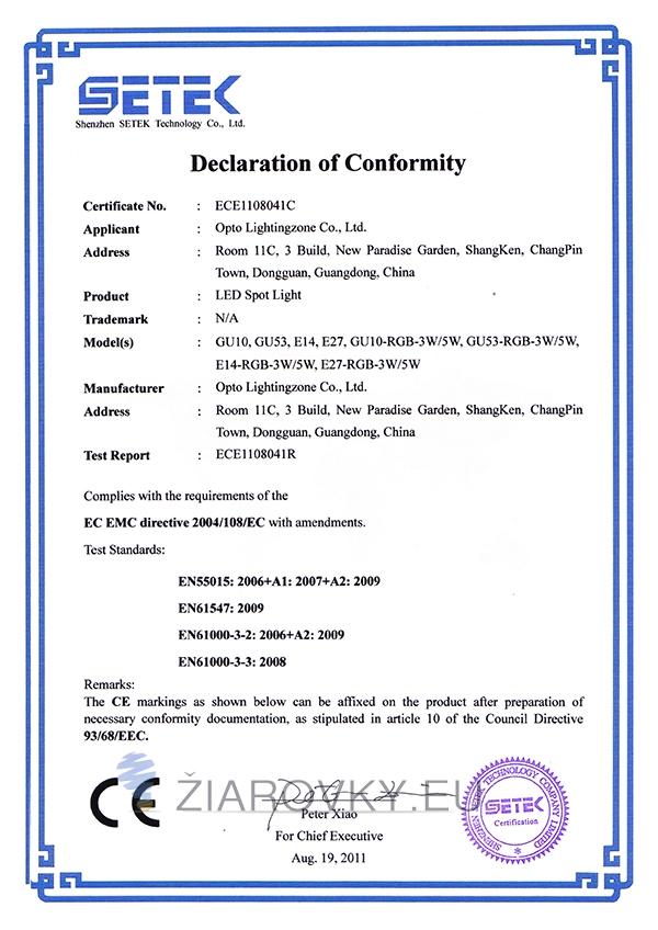 spot light ce CE a RoHS Certifikáty