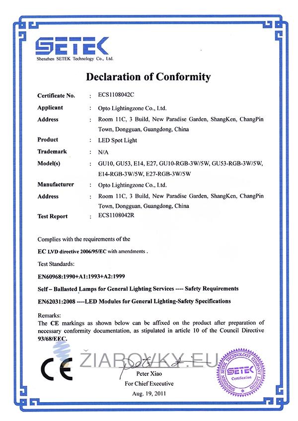 spot light ce2 CE a RoHS Certifikáty