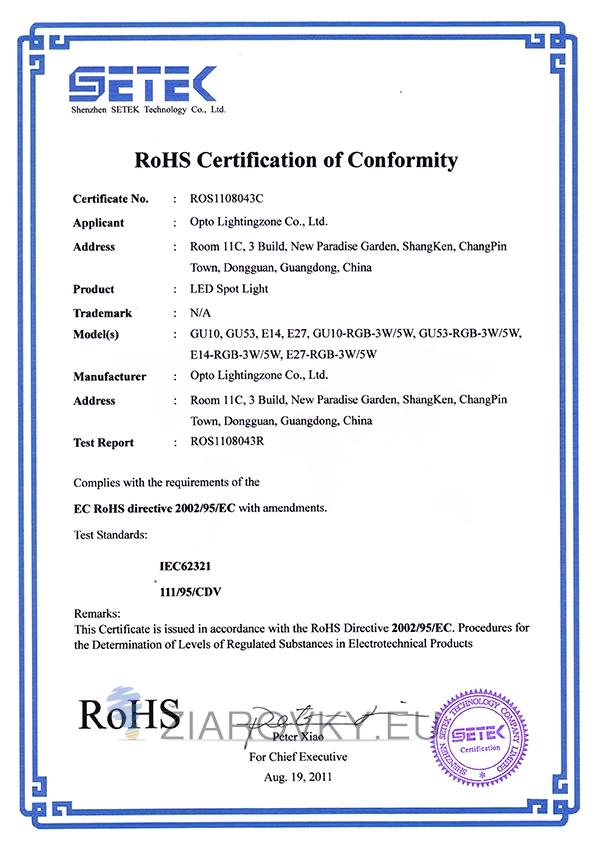 spot light rohs CE a RoHS Certifikáty