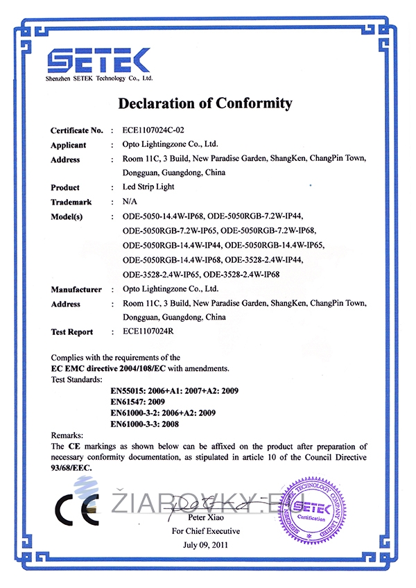 strip light 5050 ce CE a RoHS Certifikáty