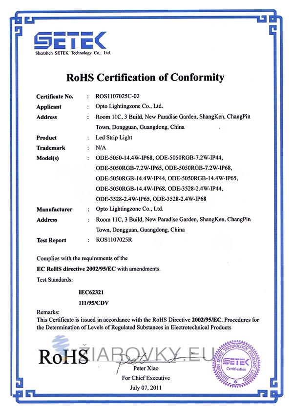 strip light 5050 rohs CE a RoHS Certifikáty