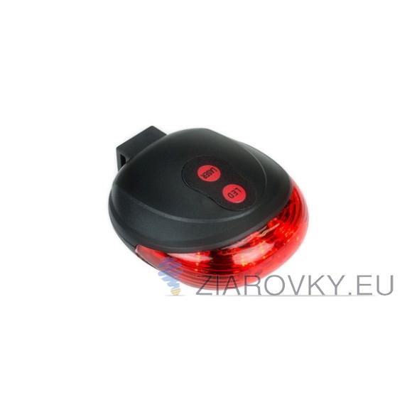 Svetlo na bicykel s laserom v červenej farbe 580x580 AKCIE !
