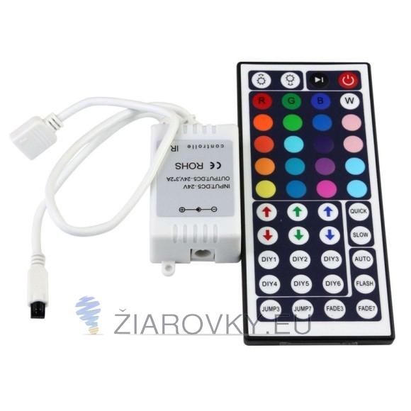 Diaľkové (IR infračervené) ovládanie pre RGB LED pásiky a RGB LED žiarovky so 44 funkciami