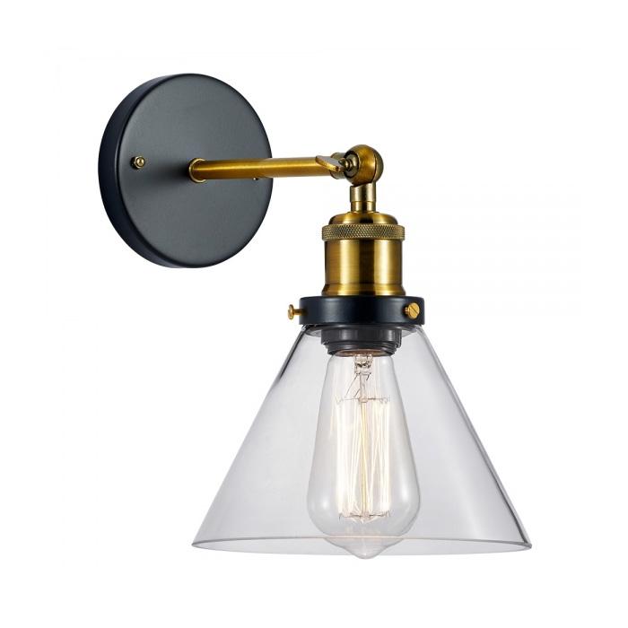 Historické nástenné svietidlo so skleneným tienidlom