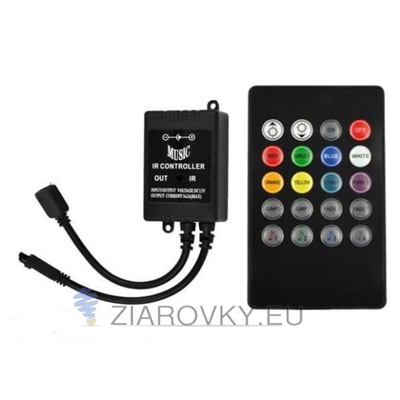 RGB ovladač IR 12V, 6A - ovládanie zvukom, 20 funkcií (1)