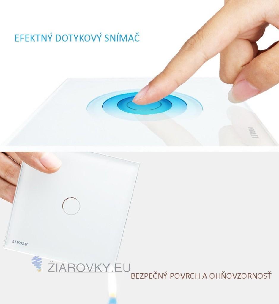 Elegantné dotykové vypínače v bielom alebo čiernom prevedení s lesklou sklenenou dotykovou plochou