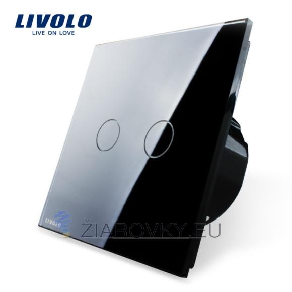Elegantný dotykový vypínač v čiernom prevedení s lesklou sklenenou dotykovou plochou (2)
