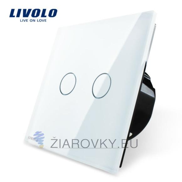 Elegantný dotykový vypínač v bielom prevedení s lesklou sklenenou dotykovou plochou (2)