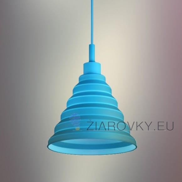 Moderný závesný silikónový luster s textilnou šnúrou v modrej farbe2 580x580 AKCIE !