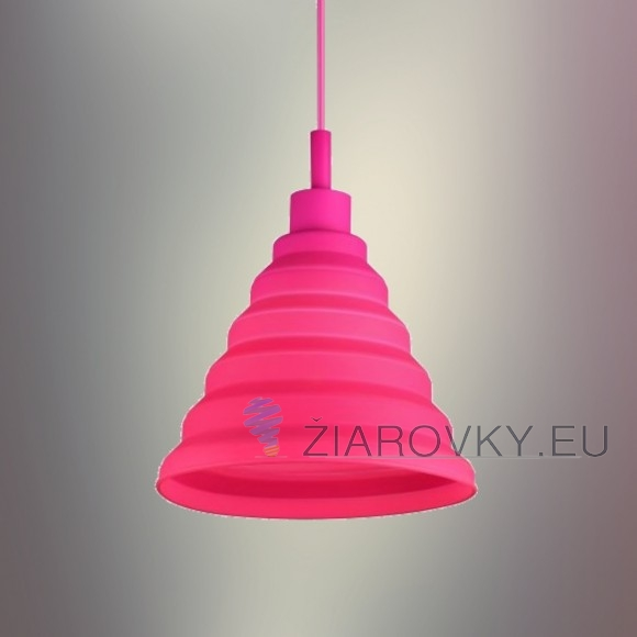 Moderný závesný silikónový luster s textilnou šnúrou v ružovej farbe1 580x580 AKCIE !