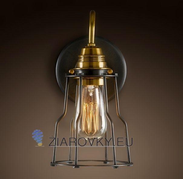 Historické nástenné svietidlo s klietkou www.ziarovky.eu  Bronz a meď