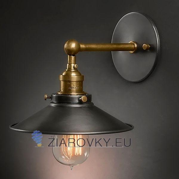 Historické nástenné svietidlo s tmavým tienidlom Bronz a meď