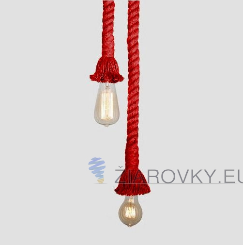 Závesný lanový luster v historickom vzhľade v červenej farbe-WWW.ZIAROVKY.EU