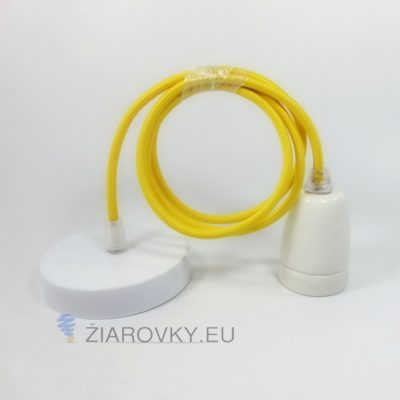 Porcelánové závesné svietidlo s textilným káblom v žltej farbe
