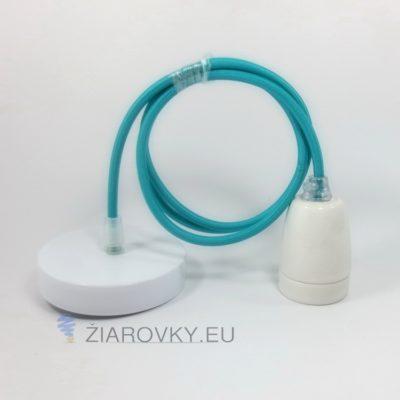 Porcelánové závesné svietidlo s textilným káblom v modrej farbe