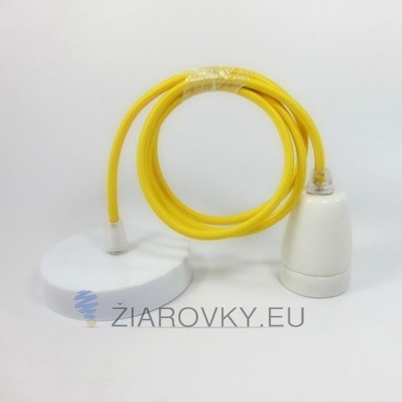 Porcelánové závesné svietidlo s textilným káblom v žltej farbe 580x580 AKCIE !
