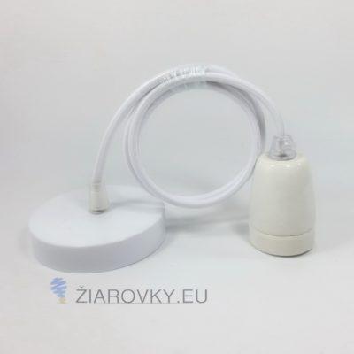 Porcelánové závesné svietidlo s textilným káblom v bielej farbe
