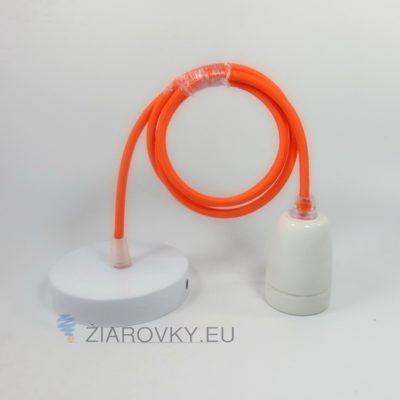 Porcelánové závesné svietidlo s textilným káblom v pomarančovej farbe