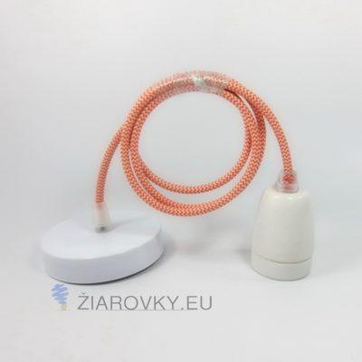 Porcelánové závesné svietidlo s textilným káblom v pomarančovo-bielej farbe