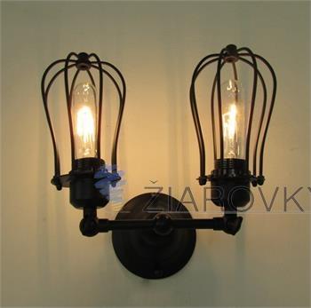 Historické nástenné svietidlo s dvomi päticami a okrúhlymi klietkami (2)