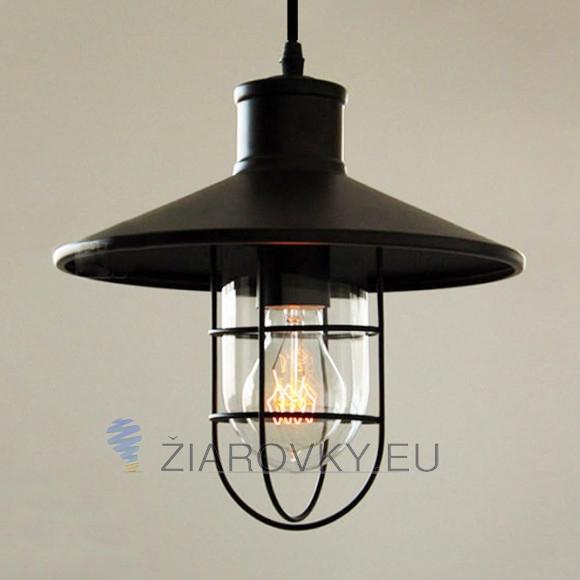 Historické závesné svietidlo Black Cage s čiernym tienidlom 580x580 AKCIE !