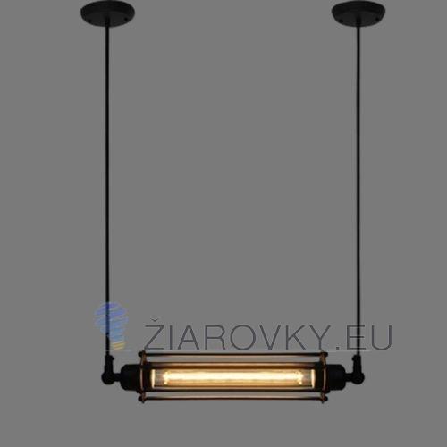 Historický závesný horizontálny luster, 1 pätica, čierna farba na žiarovky typu E27 je luster určený na strop v originálnom priemyselnom vzhľade (1)