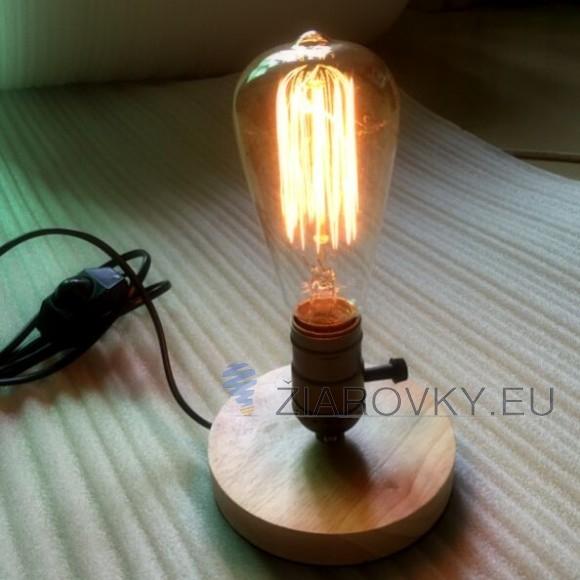 Historické stolová lampa vyrobená z dreva so stmievačom nažiarovkutypu E27. Táto stolová lampa je vyrobená ručne z kvalitného dreva