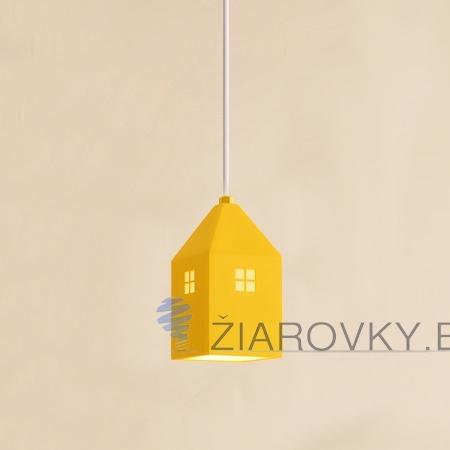 Detské závesné svietidlo v štýle mini domčeka v žltej farbe