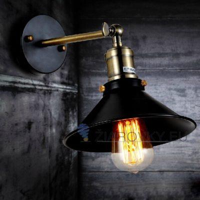 Historické nástenné svietidlo Industrial s tmavým tienidlom (4)
