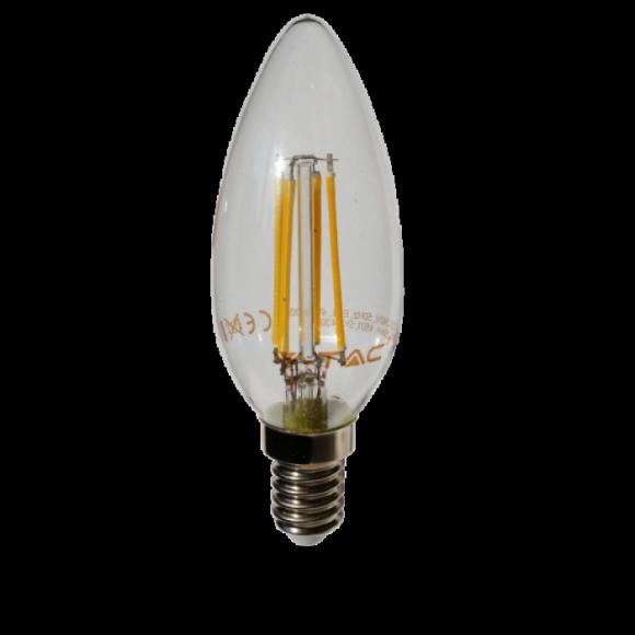 FILAMENT žiarovka CANDLE E14 Teplá biela 4W 400lm V TAC 580x580 AKCIE !
