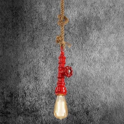 Kreatívne lanové závesné svietidlo v tvare priemyselného potrubia v červenej farbe AKCIE !