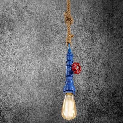 Kreatívne lanové závesné svietidlo v tvare priemyselného potrubia v modrej farbe AKCIE !