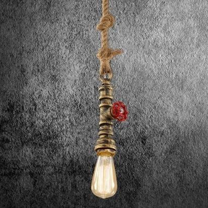 Kreatívne lanové závesné svietidlo v tvare priemyselného potrubia v staromosádznej farbe AKCIE !