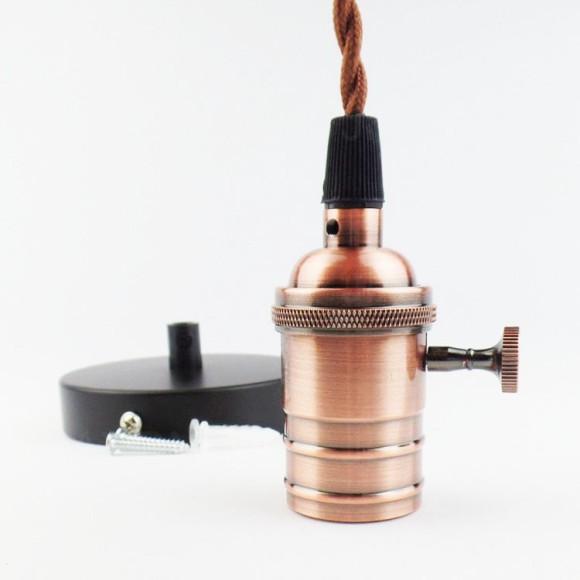 Závesné kovové svietidlo v retro dizajne so spínačom v bronzovej farbe