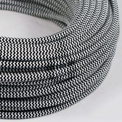 Kábel dvojžilový v podobe textilnej šnúry so vzorom BlackWhite, 2 x 0.75mm, 1 meter (2)