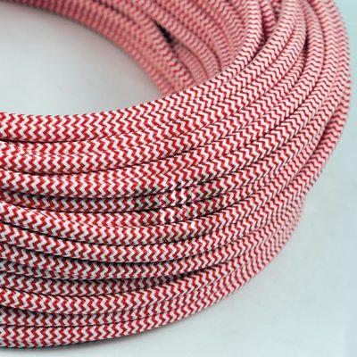 Kábel dvojžilový v podobe textilnej šnúry so vzorom RedWhite, 2 x 0.75mm, 1 meter (2)