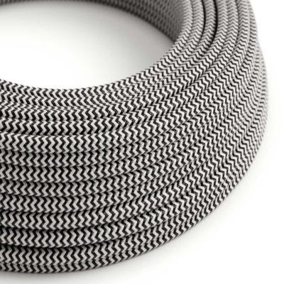 Kábel dvojžilový v podobe textilnej šnúry so vzorom Black/White, 2 x 0.75mm, 1 meter