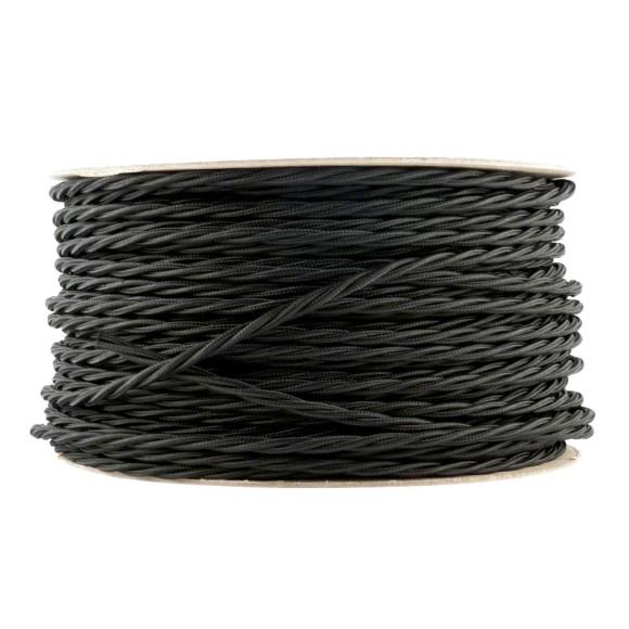Kábel dvojžilový skrútený v podobe textilnej šnúry v čiernej farbe 2 x 0.75mm 1 meter 580x580 AKCIE !