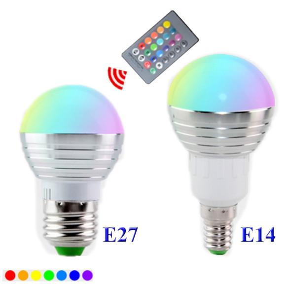 LED RGB žiarovka na diaľkové ovládanie, 16 funkcií, 5W1