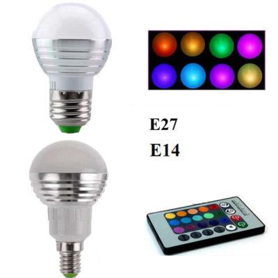 LED RGB žiarovka na diaľkové ovládanie, 16 funkcií, 5W6