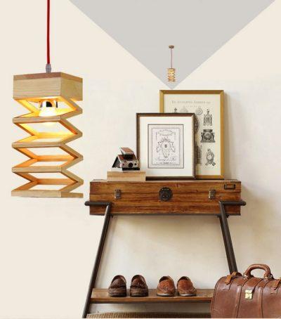Závesné kreatívne drevené svietidlo - LAMPARA10