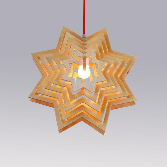 Závesné kreatívne drevené svietidlo - STAR1