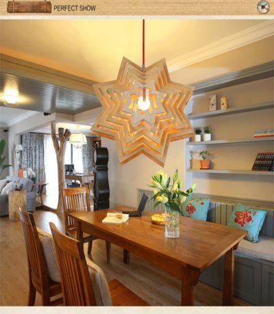 Závesné kreatívne drevené svietidlo - STAR8