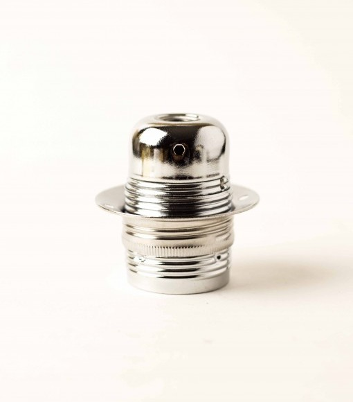 Masívna dekoračná objímka E27 • s okrasnou skrutkou • kov • strieborná1 510x580 AKCIE !