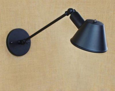 Retro nástenná lampa Tedy v čiernej farbe (2)