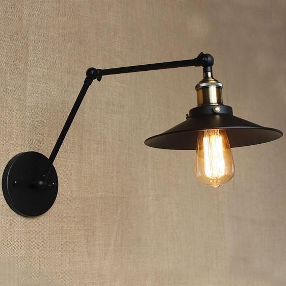 Starodávna nástenná lampa Somer s čierym tienidlom (3)