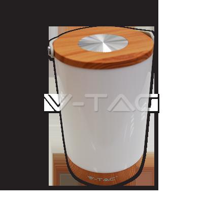 LED dotyková stmievateľná lampa so vstavanou batériou a funkciou power bank drevo 4000K V TAC AKCIE !