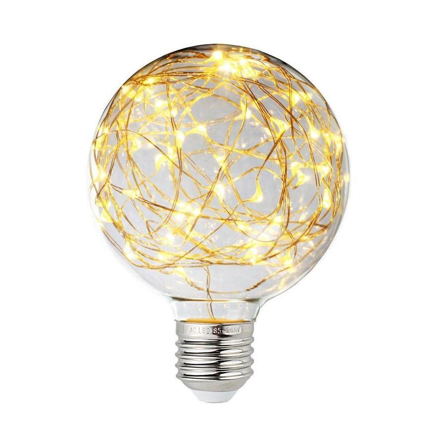 Dekoračná LED žiarovka EDISON, E27, 150lm, Globus, Teplá biela